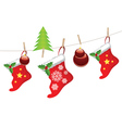 Christmas Stockings on Rope3 vector image vector image