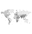 Gray detailed World map vector image