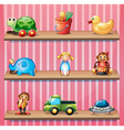 A stripe wall with three wooden shelves vector image