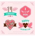 hand-lettered vintage st valentines card vector image
