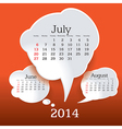 July 2014 bubble speech calendar vector image vector image