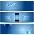 Blue abstract tech banners for web design vector image