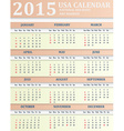 USA Calendar for 2015 American holidays are marked vector image