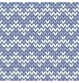 Tile blue and white knitting pattern vector image