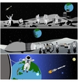 Moon space station vector image