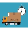 delivery concept truck transport clock time vector image