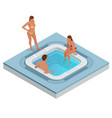 isometric jacuzzi with swirling water isolated on vector image