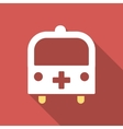 Medical Bus Flat Square Icon with Long Shadow vector image