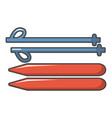 ski and sticks icon cartoon style vector image