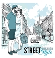 Couple Fashion City Street Poster vector image