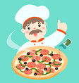 cartoon character chef with hot pizza vector image