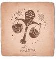 Libra zodiac sign horoscope vintage card vector image