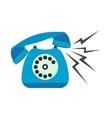 Ringing blue stationary phone flat vector image