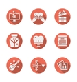 Red round romantic icons set vector image