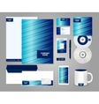 Striped blue corporate identity template vector image