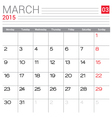2015 March calendar page vector image
