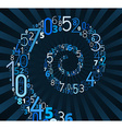 Spiral font from numbers vector image