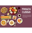 Gourmet lunch of french cuisine flat icon vector image