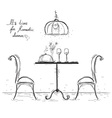 Romantic dinner sketchy isolated on white vector image vector image