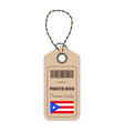 hang tag made in puerto rico with flag icon vector image