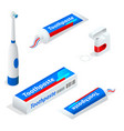 isometric set of toothpaste toothbrush dental vector image