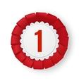 Realistic red fabric award ribbon badge vector image