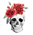 Watercolor hand drawn skull with roses vector image