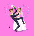wedding just married funny couple bride and vector image