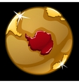 Golden globe with marked of Greenland countries vector image