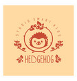 kids club logo with hedgehog cute kindergarten vector image vector image