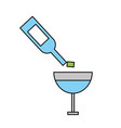 wine glass bottle pouring cup drink alcohol vector image
