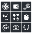Casino and luck icon set vector image