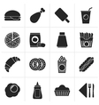 Black fast food and drink icons vector image
