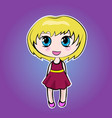 anime cute little cartoon girl with blond hair vector image