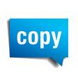 Copy blue 3d realistic paper speech bubble vector image