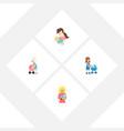 flat icon parent set of perambulator child kid vector image