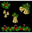 Green Christmas garlands of holly vector image