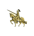 Knight Riding Steed Lance Isolated Retro vector image