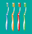 toothbrush in different colors tooth brush icon vector image