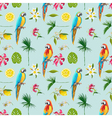 Tropical Background Parrot Bird Tropical Flowers vector image vector image