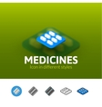 Medicines icon in different style vector image