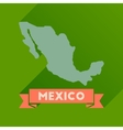 Flat icon with long shadow map of Mexico vector image