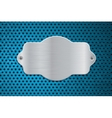 Metal shield on blue perforated background vector image