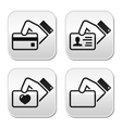 Hand holding credit card business card ID button vector image vector image