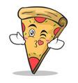 Kissing face pizza character cartoon vector image