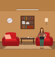 living room interior with woman working on a vector image