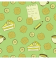 Seamless pattern with cakes lemon and tea vector image