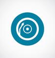 Vinyl turntable icon bold blue circle border vector image