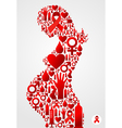 Pregnant woman silhouette with AIDS icons vector image