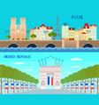 france horizontal banners set vector image